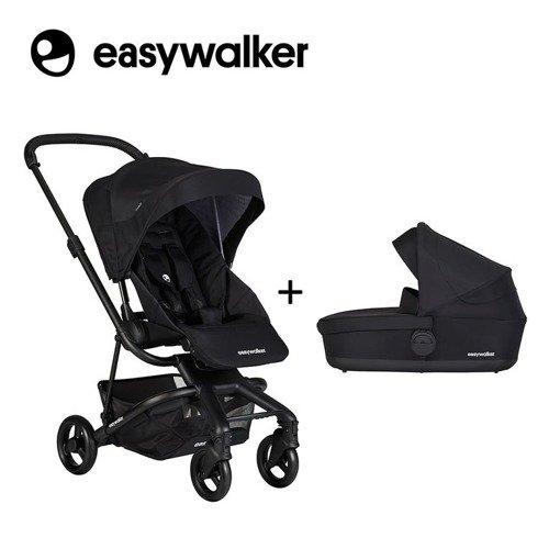 Easywalker Charley Wózek głęboko-spacerowy Night Black z czarnymi kołami