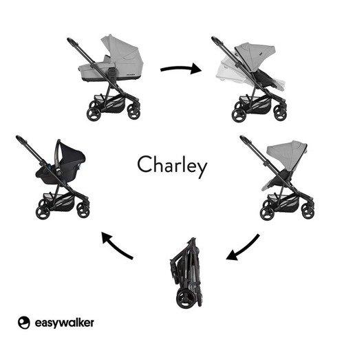 Easywalker Charley Wózek głęboko-spacerowy Cloud Grey z czarnymi kołami