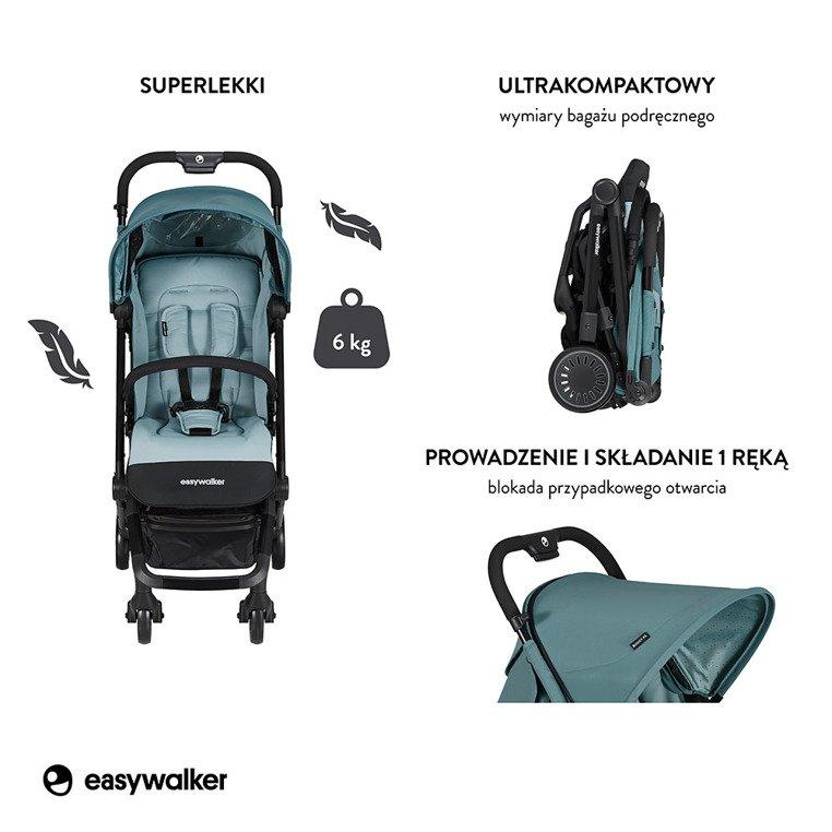 Easywalker Buggy XS Wózek spacerowy z osłonką przeciwdeszczową Ocean Blue