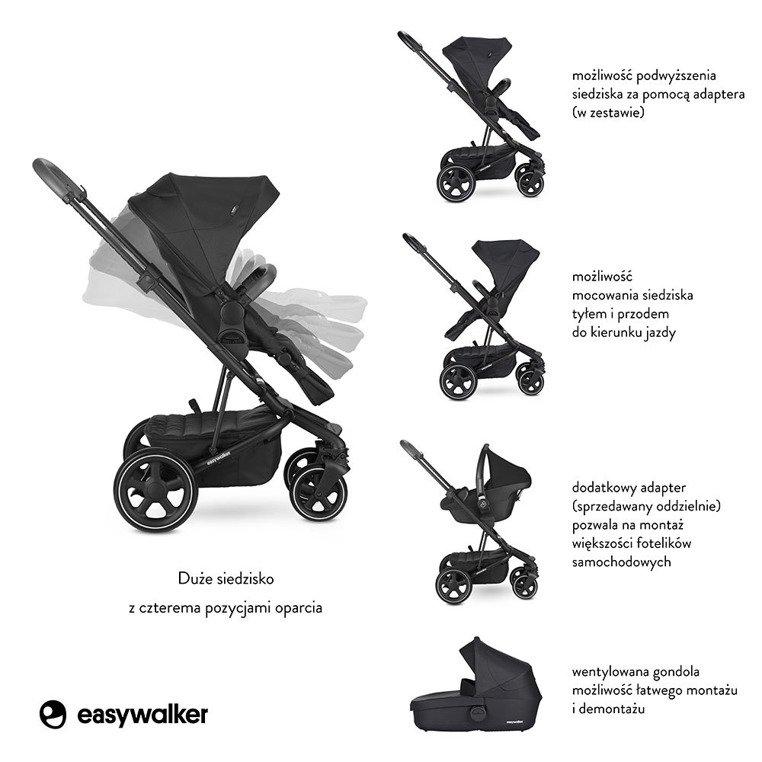Easywalker Harvey² Premium Wózek głęboko-spacerowy Onyx Black
