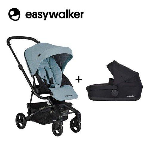 Easywalker Charley Wózek głęboko-spacerowy Glacier Blue z czarnymi kołami